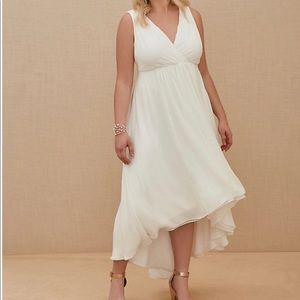 Ivory Chiffon Plunging Neckline High- Low dress.